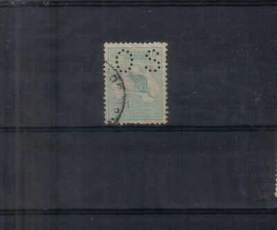 Australia 1914 1/- Kangaroo with OS perfin used