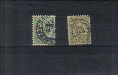 Australia 1914 1/2d and 3d Kangaroos with OS perfin used