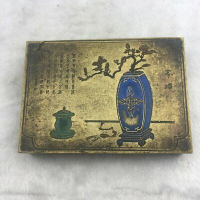 Chinese old copper brass  hand engraving  vase and flower ink box