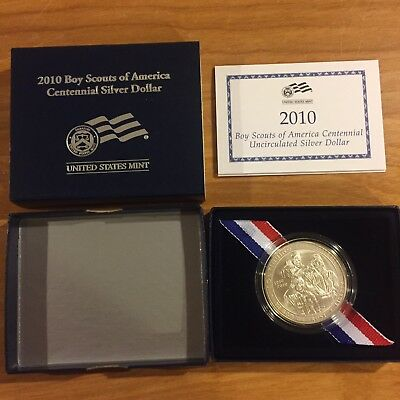 2010 Boy Scouts of America Centennial Uncirculated Silver Dollar $1 US Mint  BY2