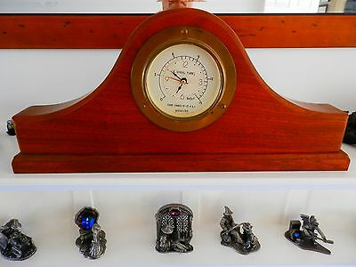 Unique solid mahogany and brass gauge clock..Hms Fearless gauge.