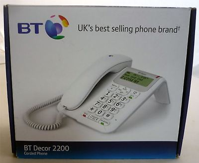 BT Decor 2200 Corded Desk Home Telephone Phone with Caller Display - White