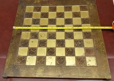Large Brass faced Chess Board with 40mm squares
