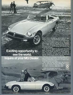 1977 MG MGB Roadster Sports Car British Leyland Pitts Plane Vintage Print Ad 70s