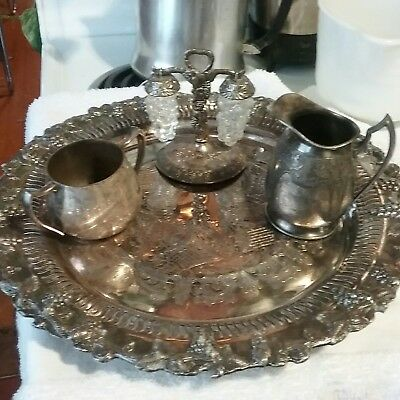 Vintage Old English Reproduction Grape & Vine Silver Plate Tray & silver lot