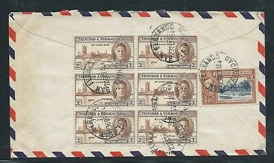 King George VI Airmail Cover Trinidad to New York October 1946