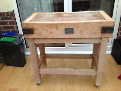 Original Rushbrookes Albion Butchers Block On  Stand With Wheels