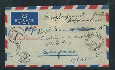 Airmail Cover Barbados to Boston USA 1955 Stamped Due 12 cents