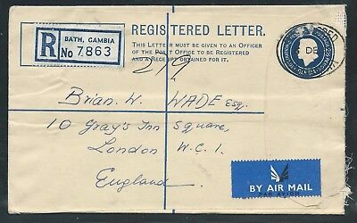 Registered Airmail Cover from The Gambia to London 1962