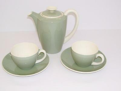 Retro Poole Pottery Small Coffee Pot and Pair of Demi-Tasse Coffee Cups.