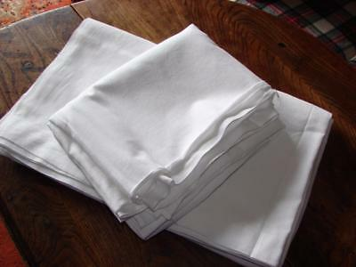 Pair Vintage Bed Sheets~Fine White Cotton~Wide Hem~97in x 77ins wide