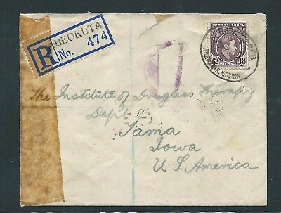 Registered Cover from Nigeria to Iowa USA 1943 Resealed by the Censor