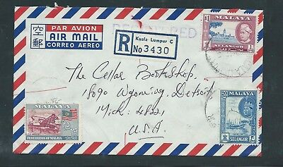 Registered Airmail Cover from Malaya to Detroit, USA 1965