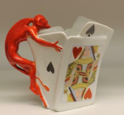 Royal Bayreuth Red Devil Playing Cards Creamer