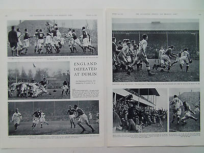RUGBY ENGLAND v IRELAND ENG DEFEAT AT DUBLIN ANTIQUE TWO PAGE PRINT DATE 1936