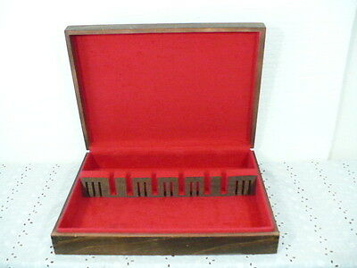 Antique silverware chest w/ red felt interior & solid wood for service of 12