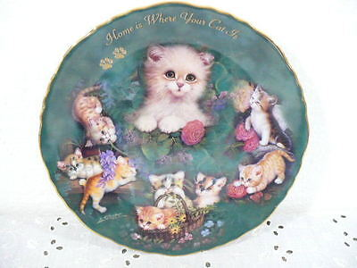 """Bradford Exchange """"Home is Where Your Cat Is"""" Plate w/ 9 Cats by Jurgen Scholz"""