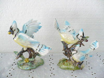 "Beautiful Norcrest set of (2) Blue Jays Figurines 6"" tall with Label"