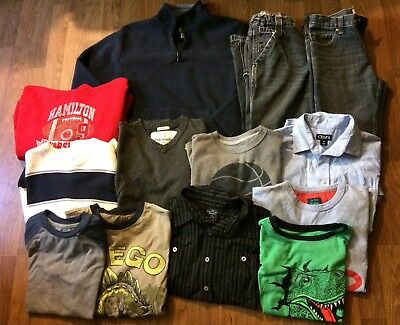 Boys Fall Winter Clothes Sweaters Jeans sz 10/12 Lot pf 13 Chaps Childrens Place