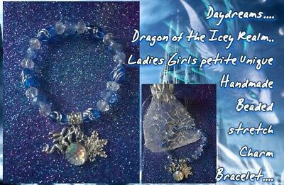 ladies girls petite size Dragon of the Icy Realm beaded stretch charm bracelet