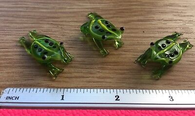 3 PCS Glass Figurine Blown Ornamental small glass Frogs, Gift