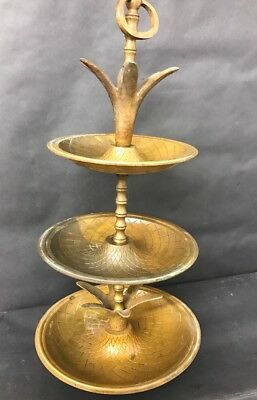 Large Antique Bronze Brass Pineapple Three Tier Serving Tray - Hollywood