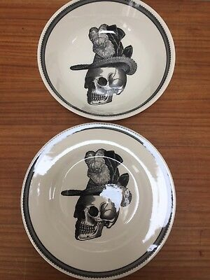 Bowl & side Plate Victorian Steampunk Skeleton Gothic Dandy Skull Made England