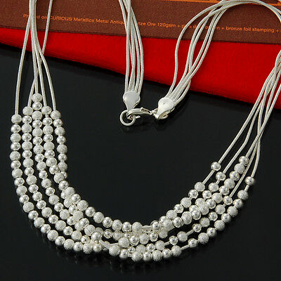Hot Wholesale Jewellery Chains 925Silver Necklace Grind Arenaceous Bead Necklace