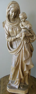 "Hand Carved Wood Statue Figurine Our Lady Child Jesus 21"" Signed Horst Eich Date"