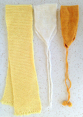 Vtg Hand Knitted Crocheted Winter Childrens Hats Scarf Set of 3 Yellow White