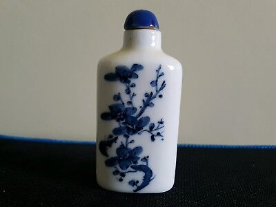 Chinese blue and white  porcelain bottle with porcelain stopper