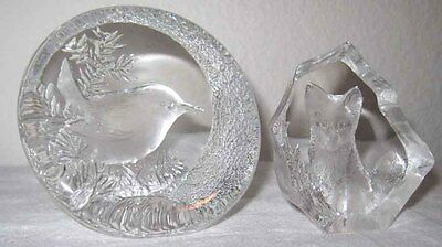 2 Mats Jonasson Crystal Paperweights Sweden Fox Chickadee Art Glass Full Lead