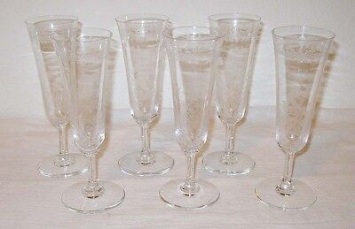 Baccarat 6 Lafayette Fluted Champagne Glasses Etched France Crystal Discontinued