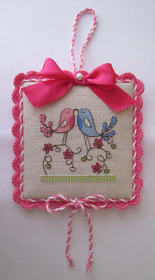 """Finished completed """"Two birds"""" cross stitch ornament"""