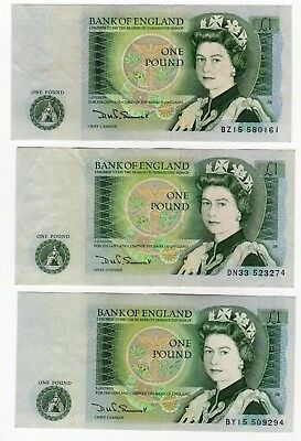 UK 3 One Pound notes Very Good (32)