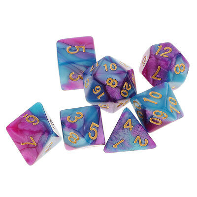 7PCS Polyhedral Dice D20 D12 D10 D8 D6 D4 for Dungeons and Dragons DND RPG MTG