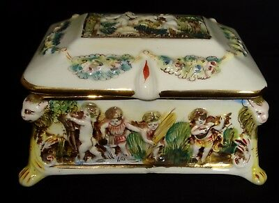 Vtg Capodimonte Hinged Footed Dresser Trinket Box High Relief Cherubs