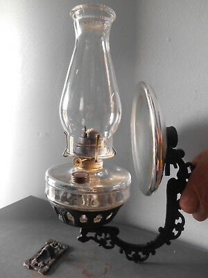 Antique Clear Glass Oil/Kerosene Wall Bracket Lamp With Reflector Complete