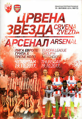 Red Star Belgrade v Arsenal 19/10/2017 Europa League OFFICIAL PROGRAMME