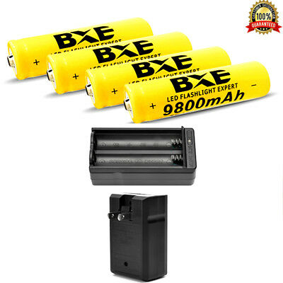 4pcs 18650 3.7V 9800mAh Li-ion Lithium Rechargeable BRC Battery 1x 18650 Charger