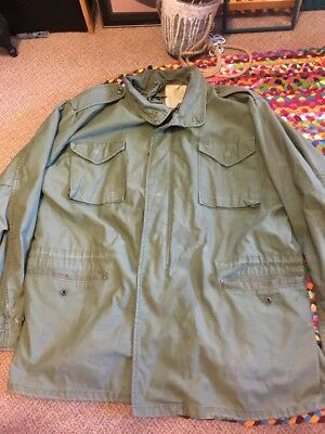 VINTAGE US ISSUE M-65 FIELD JACKET SIZE XL Long Military Army Green