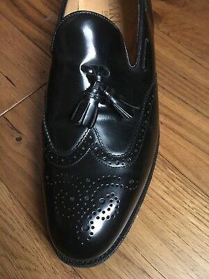 Men's Black Real Leather Barker Shoes Loafer Brogue Size 9