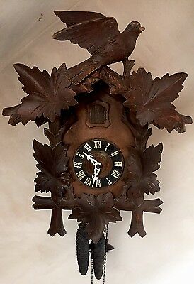 "German Large Impressive 2 Weights Driven Carved Wood Case Cuckoo Clock GWO 18""L"