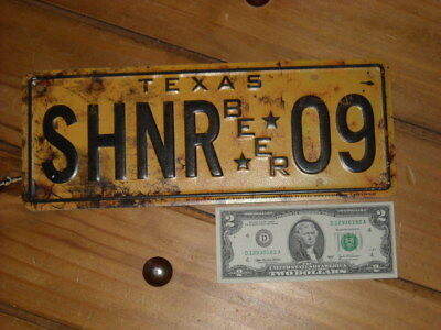 Shiner Beer Sign license plate 09 rustic look 2012 NEW metal tin tacker Texas