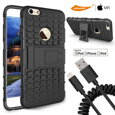 "iPhone 6 6s 4.7"" TPU+PC 2 Layer Stand Case+Car Charger+Coiled Charge Cable/Glass"