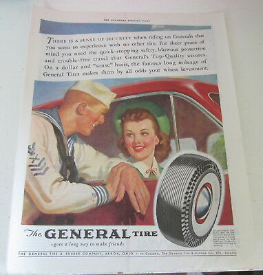 1941 original ad General Tire Sailor Talking to Pretty Lady in Car