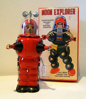 Tintoy, Blechspielzeug, Roboter, Moon Explorer, 18 cm, Rot, OVP, TR2019, China