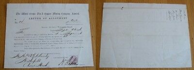 The Wheal Emma Tin & Copper Mining Company Limited Letter Of Allotment 1876