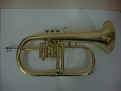 SUPERIOR QUALITY SOUND APPROVED BRASS FINISH Bb FLAT FLUGEL W/CASE MOUTHPIECE