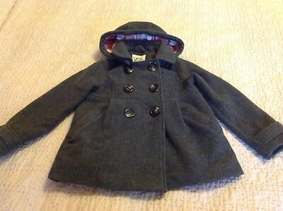 mini boden grey pea coat age 7-8 lined , removable hood